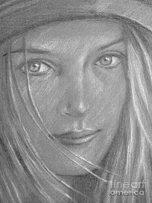 Super Girl Drawing - # 6 Uma Thurman Portrait by Alan Armstrong