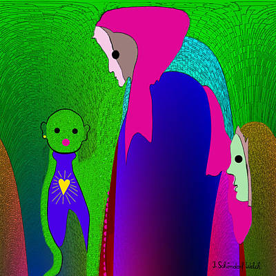Naive Art Digital Art -  648 - Little Monster Heart ...  by Irmgard Schoendorf Welch