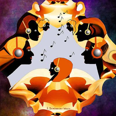 693 -  Listen  To  Music   Art Print by Irmgard Schoendorf Welch