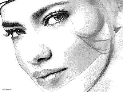 Super Girl Digital Art - # 6 Adriana Lima Portrait. by Alan Armstrong