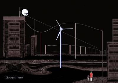 Digital Art -  763 -  Eery Nightwalk  by Irmgard Schoendorf Welch