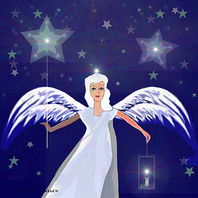 Lantern Digital Art -  806 -  Christmas Angel  With  Lantern  by Irmgard Schoendorf Welch