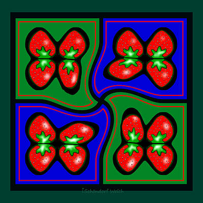 Strawberry Digital Art -  897 - Strawberry Pop  Pillow by Irmgard Schoendorf Welch