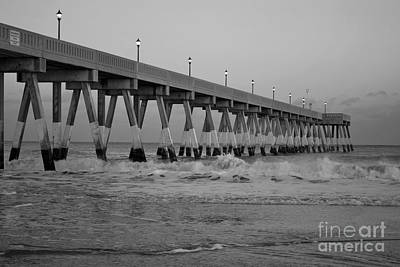 A Black And White Of Johnnie Mercers Pier At Daybreak Art Print by Bob Sample