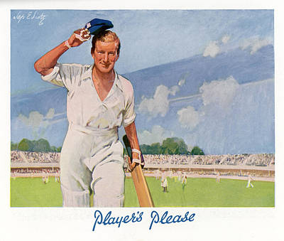 Cricket Drawing -  A Cricket Player Raises His  Cap by Mary Evans Picture Library