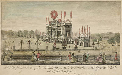 A Fireworks Display At Green  Park Art Print by Mary Evans Picture Library