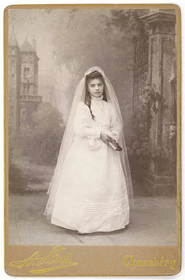 Communion Photograph -  A French Girl Dressed For Her First by Mary Evans Picture Library