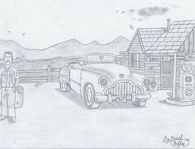 Gerald Griffin Drawing -  A Gas Station Days The Of Past by Gerald Griffin