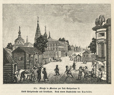 Moscow Drawing -  A Moscow Street Scene At The  Time by Mary Evans Picture Library