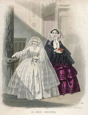 Communion Drawing -  A Mother With Her Daughter by Mary Evans Picture Library