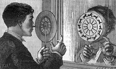 Optical Illusion Drawing -  A Rotary Zootrope  The  Images by Mary Evans Picture Library