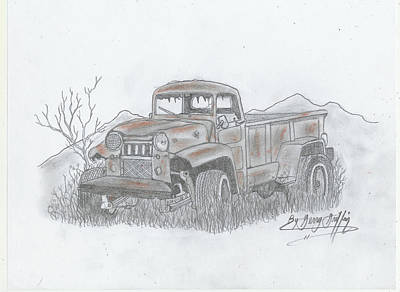 Gerald Griffin Painting -  A Rustic Old Truck by Gerald Griffin