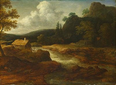 Saw Mill Painting -  A Saw-mill By A Torrent by Allart van Everdingen