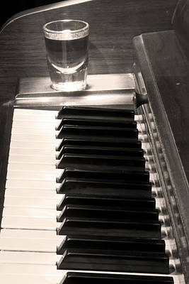 Photograph -  A Shot Of Bourbon Whiskey And The Bw Piano Ivory Keys In Sepia by James BO Insogna