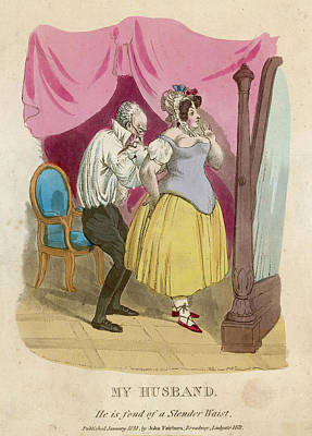 Plump Women Wall Art - Drawing -  A Skinny Husband Helps His  Plump Wife by Mary Evans Picture Library