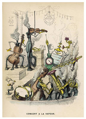 Trombone Drawing -  A Steam Orchestra With, Drums,  Cello by Mary Evans Picture Library