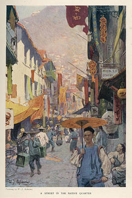 Hong Kong Drawing -  'a Street In The Native  Quarter' by Mary Evans Picture Library