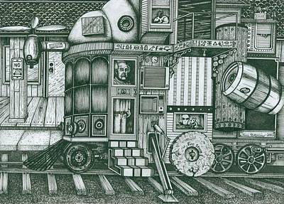 Drawing -   A Traveling Cabinets Of Curiosities by Richie Montgomery