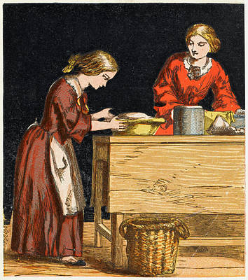 Raspberry Drawing -  A Victorian Girl Making A  Gooseberry by Mary Evans Picture Library