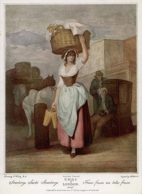 Strawberries Drawing -  A Woman Balancing A Large  Basket by Mary Evans Picture Library