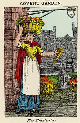 Strawberries Drawing -  A Woman In Covent Garden Sells by Mary Evans Picture Library
