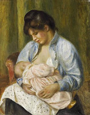 A Woman Nursing A Child Renoir Painting - A Woman Nursing A Child by Pierre-Auguste Renoir
