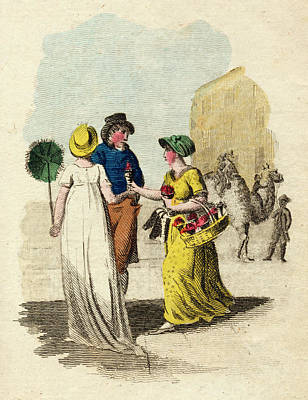 Strawberries Drawing -  A Woman Sells Scarlet  Strawberries by Mary Evans Picture Library