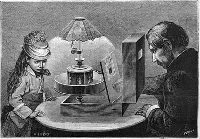 Optical Illusion Drawing -  A Young Girl Is Fascinated by Mary Evans Picture Library