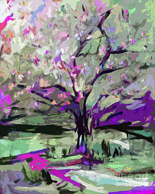Abstract Art Tree In Bloom By Ginette Art Print