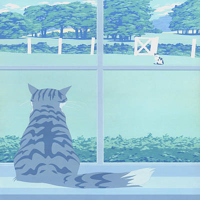 Peaceful Scene Painting -  Abstract Cats Staring Stylized Retro Pop Art Nouveau 1980s Green Landscape - Square Format by Walt Curlee