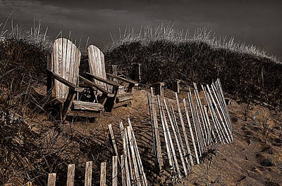 Photograph -  Adirondack Beach Chairs  by Rick Mosher