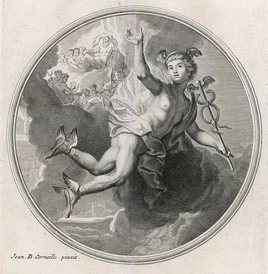 Hermes Wall Art - Drawing -  Airborne, Thanks To His  Winged Shoes by Mary Evans Picture Library