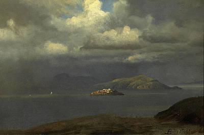Alcatraz Painting -  Alcatraz San Francisco Bay by Albert Bierstadt