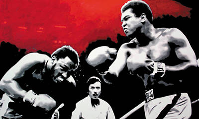 Cassius Clay Painting - - Ali Vs Fraser - by Luis Ludzska