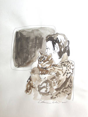 Painting -  Aliya With Cat by Esther Newman-Cohen