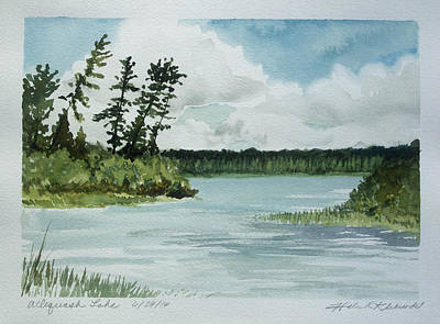 Painting -  Allequash Lake by Helen Klebesadel