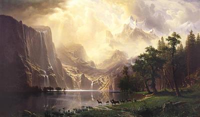 Field. Cloud Painting -  Among The Sierra Nevada Mountains California by Albert Bierstadt