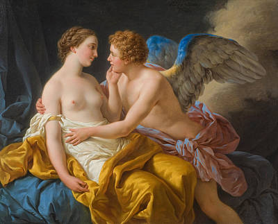 Amor And Psyche Art Print by Louis Lagrenee