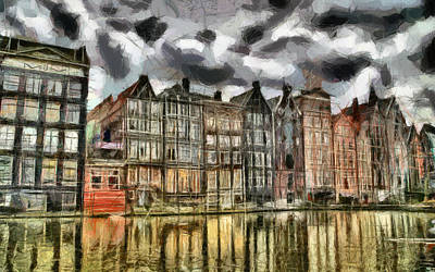 Painting -  Amsterdam Water Canals by Georgi Dimitrov