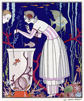 Goldfish Drawing -   An Elegant Woman And Her Aquarium by Mary Evans Picture Library