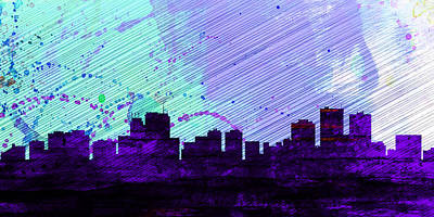 Horizon Painting -  Anchorage City Skyline by Naxart Studio