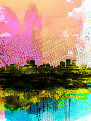 Architectural Painting -  Anchorage Watercolor Skyline by Naxart Studio