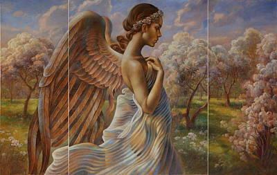 Wall Art - Painting -  Angel In The Eden Garden  by Arthur Braginsky