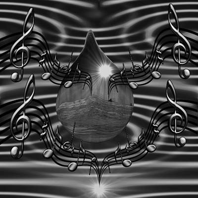 Digital Art -  Angelic Sounds On The Waves Bw by Barbara St Jean