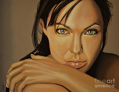 Painting -  Angelina Jolie 2 by Paul Meijering