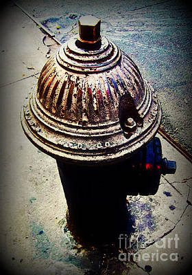 Photograph -  Antique Fire Hydrant - Blue Tones by Miriam Danar