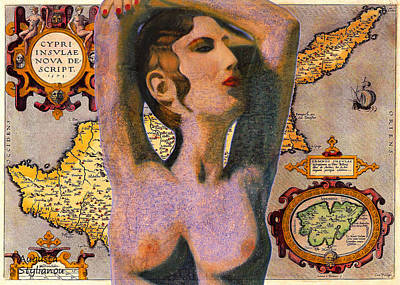 Buy Digital Art -  Aphrodite And Ancient Cyprus Map by Augusta Stylianou