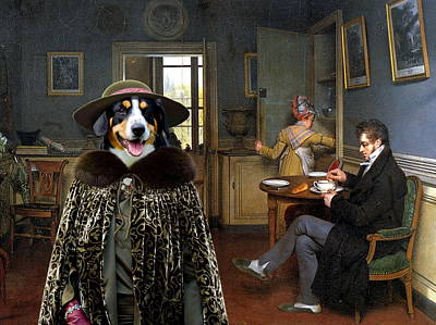 Cattle Dog Painting -  Appenzeller Sennenhund - Appenzell Cattle Dog Art Canvas Print by Sandra Sij