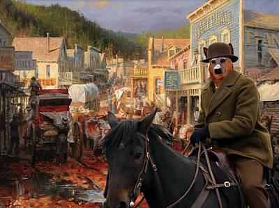 Australian Cattle Dog Canvas Print - Gold Town Art Print by Sandra Sij