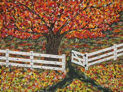 Autumn At The White Fence Farm Art Print by Jeffrey Koss